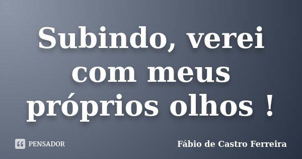 Subindo, verei com meus próprios olhos !... Frase de Fábio de Castro Ferreira.