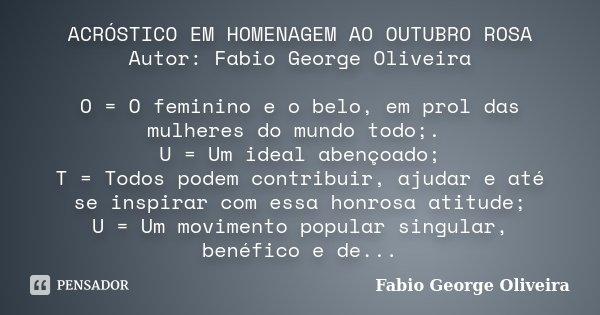 Acróstico Em Homenagem Ao Outubro Rosa Fabio George Oliveira