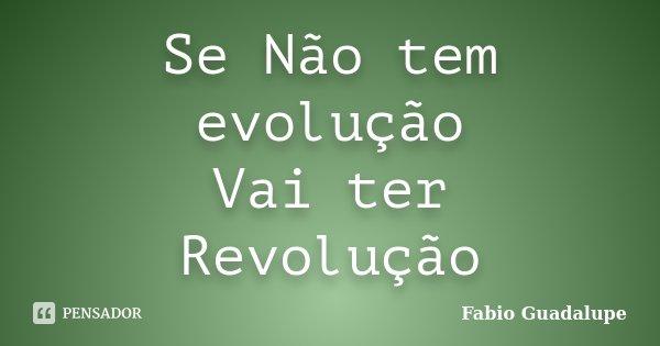 Se Não tem evolução Vai ter Revolução... Frase de Fabio Guadalupe.