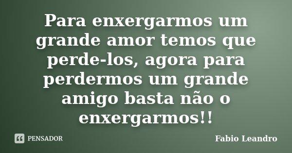 Para enxergarmos um grande amor temos que perde-los, agora para perdermos um grande amigo basta não o enxergarmos!!... Frase de Fabio Leandro.