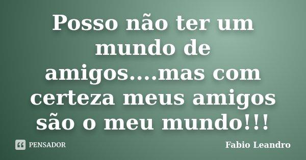 Posso não ter um mundo de amigos....mas com certeza meus amigos são o meu mundo!!!... Frase de Fabio Leandro.