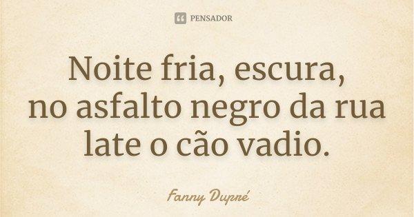 Noite fria, escura, no asfalto negro da rua late o cão vadio.... Frase de Fanny Dupré.