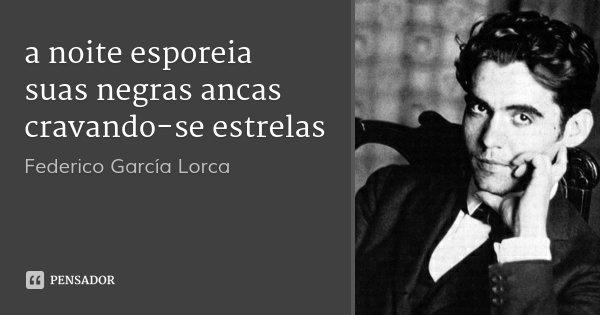 a noite esporeia suas negras ancas cravando-se estrelas... Frase de Federico García Lorca.