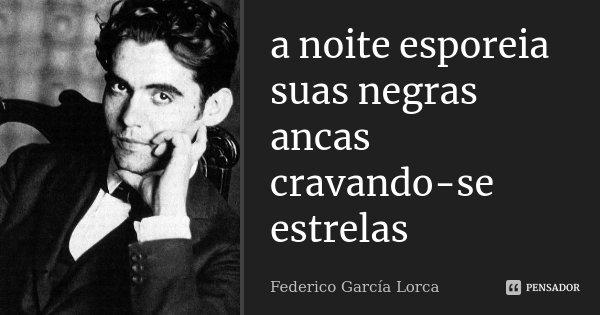 a noite esporeia suas negras ancas cravando-se estrelas... Frase de Federico Garcia Lorca.