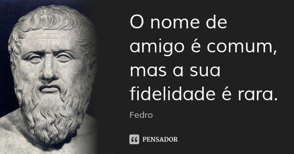 O nome de amigo é comum, mas a sua fidelidade é rara.... Frase de Fedro.