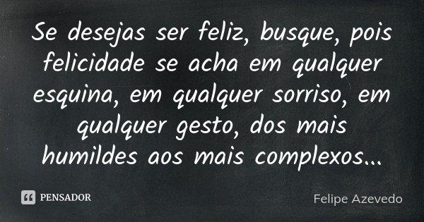 Se desejas ser feliz, busque, pois felicidade se acha em qualquer esquina, em qualquer sorriso, em qualquer gesto, dos mais humildes aos mais complexos...... Frase de Felipe Azevedo.