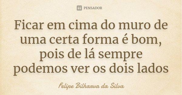 Ficar em cima do muro de uma certa forma é bom, pois de lá sempre podemos ver os dois lados... Frase de Felipe Bilharva da Silva.