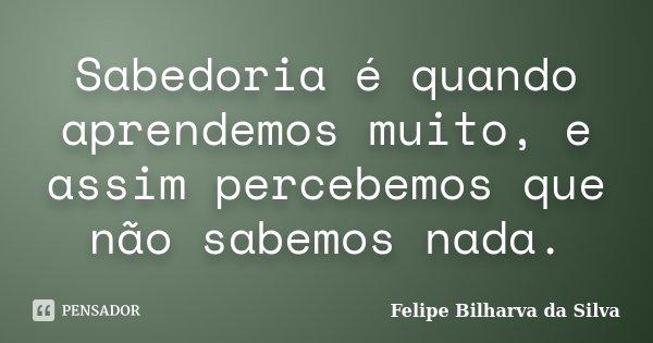 Sabedoria é quando aprendemos muito, e assim percebemos que não sabemos nada.... Frase de Felipe Bilharva da Silva.