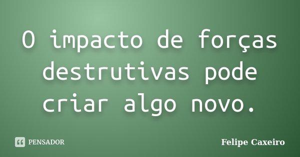 O impacto de forças destrutivas pode criar algo novo.... Frase de Felipe Caxeiro.