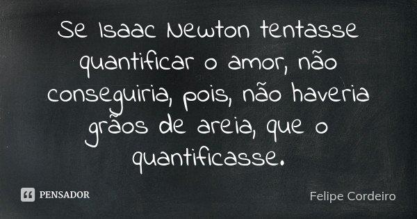 Se Isaac Newton tentasse quantificar o amor, não conseguiria, pois, não haveria grãos de areia, que o quantificasse.... Frase de Felipe Cordeiro.