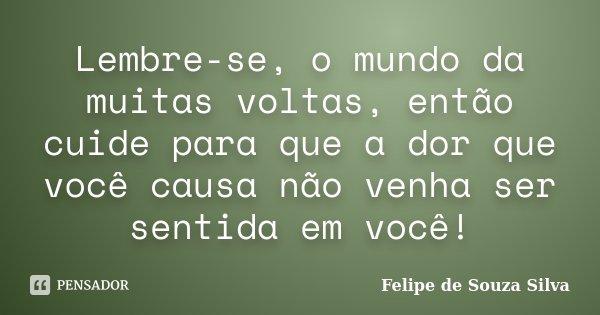 Lembre Se O Mundo Da Muitas Voltas Felipe De Souza Silva