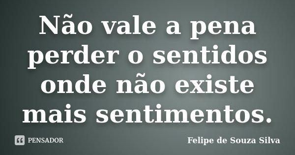 Não vale a pena perder o sentidos onde não existe mais sentimentos.... Frase de Felipe de Souza Silva.
