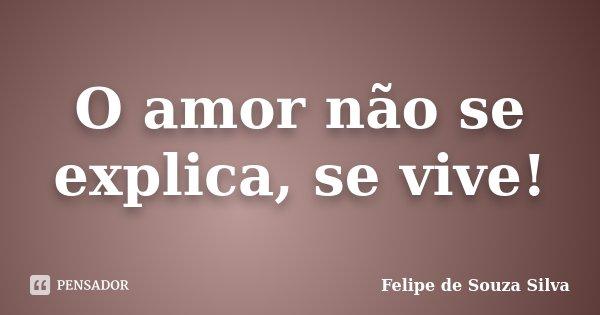 O amor não se explica, se vive!... Frase de Felipe de Souza Silva.