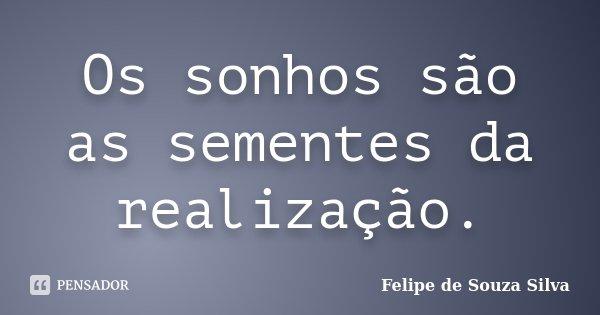 Os sonhos são as sementes da realização.... Frase de Felipe de Souza Silva.