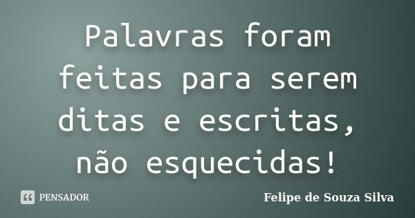 Palavras foram feitas para serem ditas e escritas, não esquecidas!... Frase de Felipe de Souza Silva.