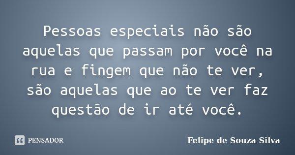 Pessoas especiais não são aquelas que passam por você na rua e fingem que não te ver, são aquelas que ao te ver faz questão de ir até você.... Frase de Felipe de Souza Silva.