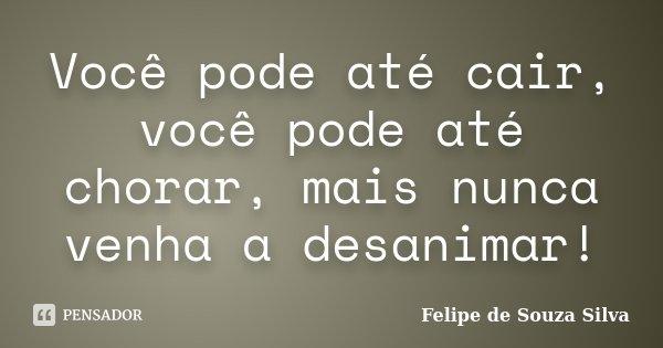 Você pode até cair, você pode até chorar, mais nunca venha a desanimar!... Frase de Felipe de Souza Silva.