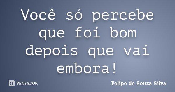 Você só percebe que foi bom depois que vai embora!... Frase de Felipe de Souza Silva.