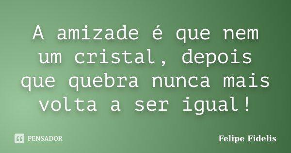A amizade é que nem um cristal, depois que quebra nunca mais volta a ser igual!... Frase de Felipe Fidelis.