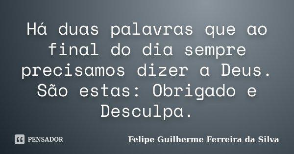 Há duas palavras que ao final do dia sempre precisamos dizer a Deus. São estas: Obrigado e Desculpa.... Frase de Felipe Guilherme Ferreira da Silva.