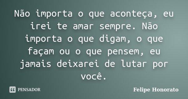 Não importa o que aconteça, eu irei te amar sempre. Não importa o que digam, o que façam ou o que pensem, eu jamais deixarei de lutar por você.... Frase de Felipe Honorato.