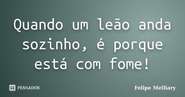 Quando um leão anda sozinho, é porque está com fome!... Frase de Felipe Melliary.