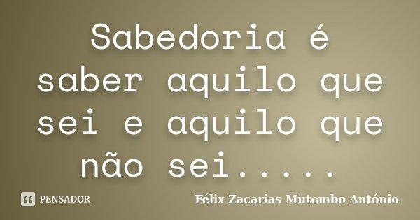 Sabedoria é saber aquilo que sei e aquilo que não sei........ Frase de Félix Zacarias Mutombo António.