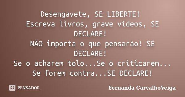 Desengavete, SE LIBERTE! Escreva livros, grave vídeos, SE DECLARE! NÃO importa o que pensarão! SE DECLARE! Se o acharem tolo...Se o criticarem... Se forem contr... Frase de Fernanda CarvalhoVeiga.
