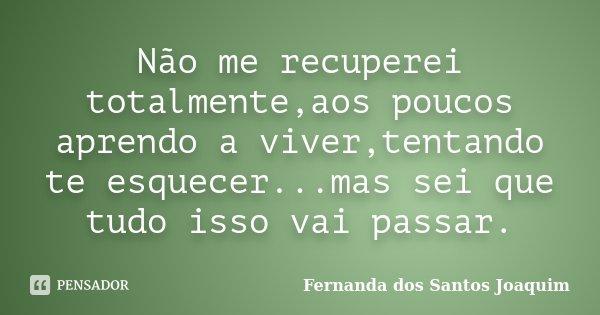 Não me recuperei totalmente,aos poucos aprendo a viver,tentando te esquecer...mas sei que tudo isso vai passar.... Frase de Fernanda dos Santos Joaquim.
