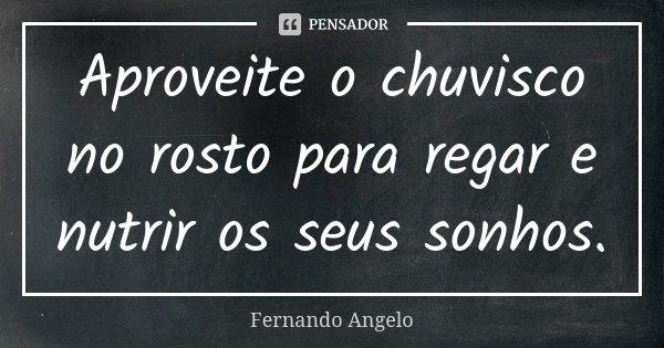 Aproveite o chuvisco no rosto para regar e nutrir os seus sonhos.... Frase de Fernando Angelo.