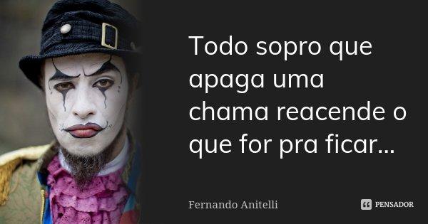 Todo sopro que apaga uma chama reacende o que for pra ficar...... Frase de Fernando Anitelli.