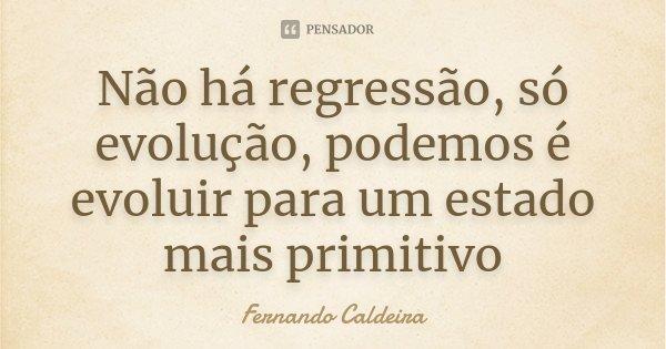 Não há regressão, só evolução, podemos é evoluir para um estado mais primitivo... Frase de Fernando Caldeira.