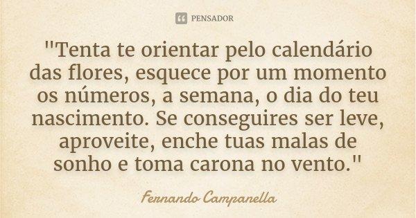 """""""Tenta te orientar pelo calendário das flores, esquece por um momento os números, a semana, o dia do teu nascimento. Se conseguires ser leve, aproveite, en... Frase de Fernando Campanella."""