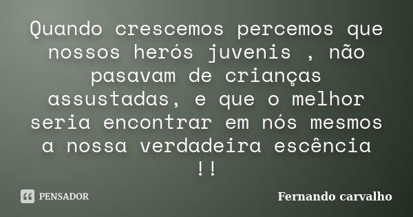 Quando crescemos percemos que nossos herós juvenis , não pasavam de crianças assustadas, e que o melhor seria encontrar em nós mesmos a nossa verdadeira escênci... Frase de Fernando Carvalho.