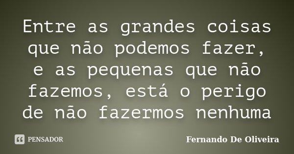 Entre as grandes coisas que não podemos fazer, e as pequenas que não fazemos, está o perigo de não fazermos nenhuma... Frase de Fernando de Oliveira.