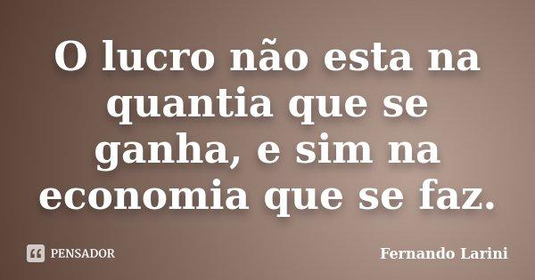 O lucro não esta na quantia que se ganha, e sim na economia que se faz.... Frase de Fernando Larini.