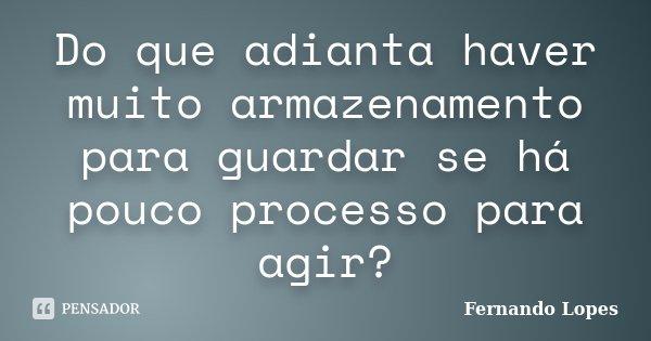 Do que adianta haver muito armazenamento para guardar se há pouco processo para agir?... Frase de Fernando Lopes.