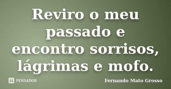 Reviro o meu passado e encontro sorrisos, lágrimas e mofo.... Frase de Fernando Mato Grosso.