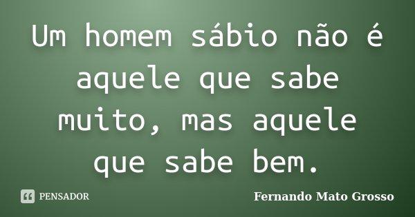 Um homem sábio não é aquele que sabe muito, mas aquele que sabe bem.... Frase de Fernando Mato Grosso.