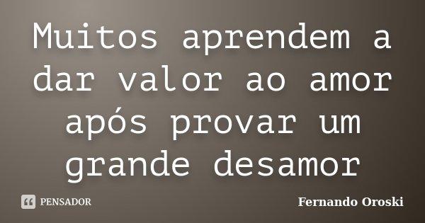Muitos aprendem a dar valor ao amor após provar um grande desamor... Frase de Fernando Oroski.