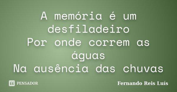 A memória é um desfiladeiro Por onde correm as águas Na ausência das chuvas... Frase de Fernando Reis Luís.