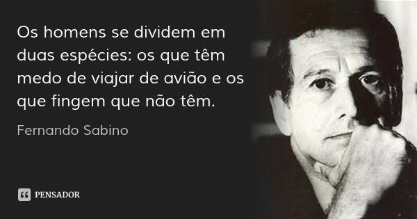 Os homens se dividem em duas espécies: os que têm medo de viajar de avião e os que fingem que não têm.... Frase de Fernando Sabino.