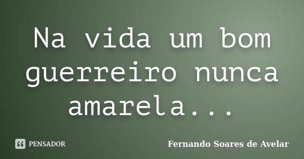 Na vida um bom guerreiro nunca amarela...... Frase de Fernando Soares de Avelar.