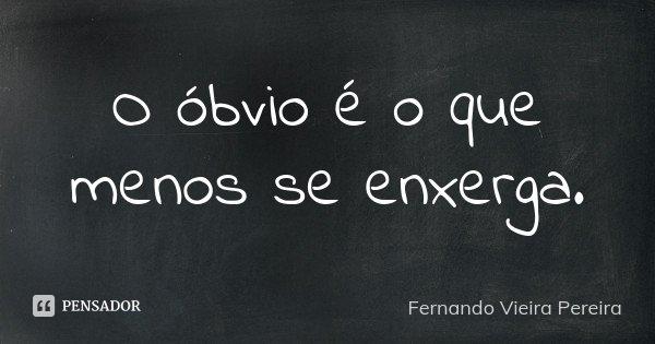 O óbvio é o que menos se enxerga.... Frase de Fernando Vieira Pereira.