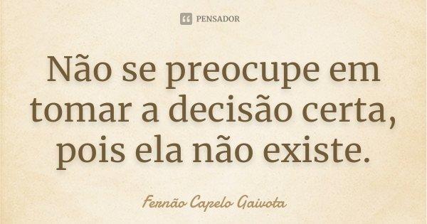 Não se preocupe em tomar a decisão certa, pois ela não existe.... Frase de Fernão Capelo Gaivota.
