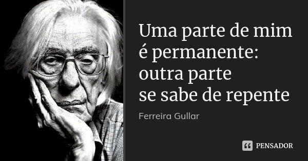 Uma parte de mim é permanente: outra parte se sabe de repente... Frase de Ferreira Gullar.