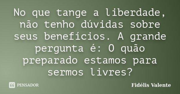 No que tange a liberdade, não tenho dúvidas sobre seus benefícios. A grande pergunta é: O quão preparado estamos para sermos livres?... Frase de Fidélis Valente.