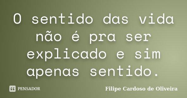 O sentido das vida não é pra ser explicado e sim apenas sentido.... Frase de Filipe Cardoso de Oliveira.