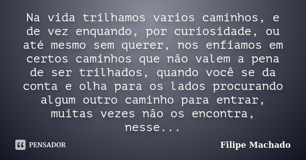 Na vida trilhamos varios caminhos, e de vez enquando, por curiosidade, ou até mesmo sem querer, nos enfiamos em certos caminhos que não valem a pena de ser tril... Frase de Filipe Machado.