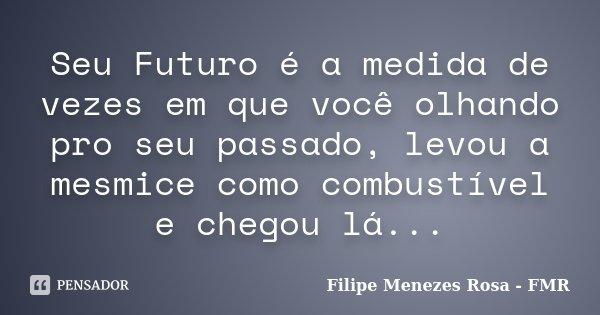 Seu Futuro é a medida de vezes em que você olhando pro seu passado, levou a mesmice como combustível e chegou lá...... Frase de Filipe Menezes Rosa - FMR.
